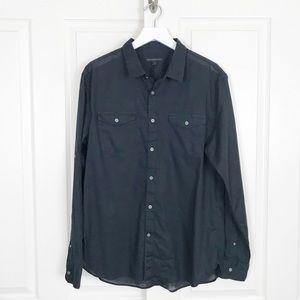 John Varvatos USA Black Button Down Roll Tab Shirt